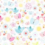 Textuur van bloemenvlinders en vogels Royalty-vrije Stock Afbeeldingen