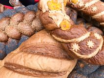 Textuur van blozende bruine tarwe weelderige smakelijke witte broden, brood, zwarte papaverbroodjes De achtergrond stock fotografie