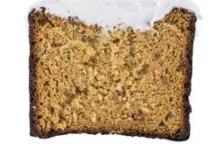 Textuur van bruine glanscake met room Voor achtergrond royalty-vrije stock fotografie
