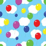 Textuur van de ballons de naadloze wolk Stock Foto