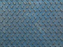 Textuur van de blauwe roestige plaat van de staalvloer Stock Foto