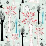 Textuur van de bomen en de vogels royalty-vrije illustratie