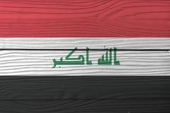 """Textuur van de Grunge is de Iraakse vlag, een horizontale tricolor van rode wit en zwart met """"God het grootst 'in groen stock foto's"""
