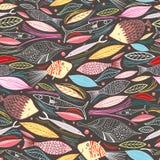 Textuur van de vissen en de bladeren vector illustratie