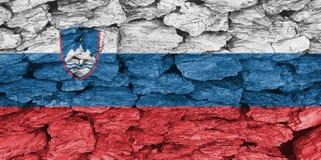 Textuur van de Vlag van Slovenië op een decoratieve schors stock illustratie