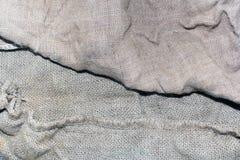 Textuur van een oude vuile aardappelzak Stock Foto's