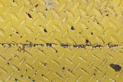 Textuur van gele die platen met roest worden bevlekt Stock Afbeelding
