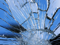 Textuur van glanzende blauwe spiegeloppervlakte met kleine en grote barsten royalty-vrije stock afbeeldingen