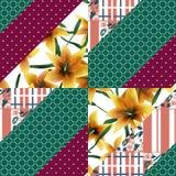 Textuur van het lapwerk de naadloze bloemen oranje lilly patroon backgroun royalty-vrije illustratie
