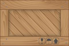 Textuur van houten doos en breekbaar symbool vector illustratie