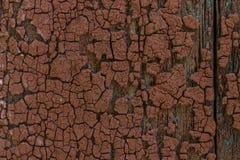 Textuur van houten muur met oude rode verf Royalty-vrije Stock Foto's
