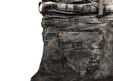 Textuur van Jean van de vouw de zwarte Stock Foto's