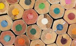 Textuur van kleurpotloden Stock Foto's