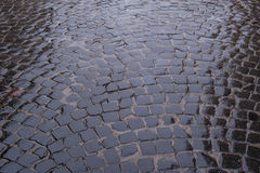Textuur van natte steenweg Royalty-vrije Stock Afbeelding