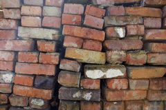 Textuur van oude oranje baksteen stock afbeelding