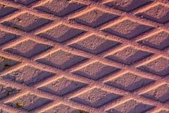 Textuur van rode gecanneleerde metaalplaat Stock Fotografie