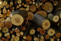 Textuur van ronde houten die logboeken in brandhout worden gesneden Royalty-vrije Stock Fotografie