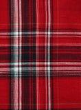 Textuur van rood-zwarte geruite stof Stock Foto's