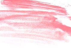 Textuur van roze waterverfverf op Witboek Horizontale watercolourachtergrond stock afbeelding