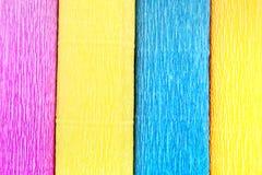 Textuur van vier gekleurd gerimpeld document broodje Stock Foto's