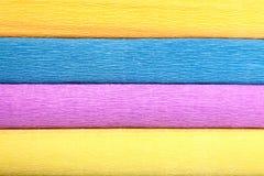 Textuur van vier verschillend-gekleurde broodjes van gerimpeld document Stock Foto