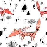 Textuur van vossen in het bos royalty-vrije illustratie
