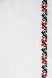 Textuur van Wit Canvas met Slavisch Borduurwerk stock afbeeldingen