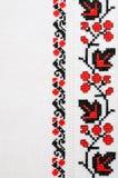 Textuur van Wit Canvas met Slavisch Borduurwerk Royalty-vrije Stock Afbeelding