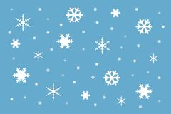 Textuur van witte sneeuwvlokken van verschillende vorm en grootte stock afbeelding