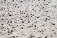 Textuur van zand en stenen op het strand stock foto's