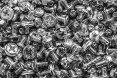 Textuur van zilveren computer botls of schroeven Stock Afbeeldingen