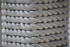 Textuur - witte mariene kabel van natuurlijke vezels Stock Foto