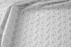 Textuurachtergrond van stof Doek met geslagen cirkels wit Royalty-vrije Stock Afbeelding