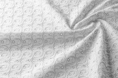 Textuurachtergrond van stof Doek met geslagen cirkels wit Stock Foto's