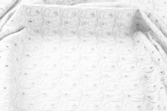 Textuurachtergrond van stof Doek met geslagen cirkels wit Royalty-vrije Stock Foto's