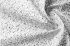 Textuurachtergrond van stof Doek met geslagen cirkels wit Stock Fotografie