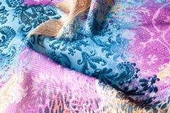 Textuurachtergrond, zijdestof, met abstract patroon Bl Royalty-vrije Stock Afbeeldingen