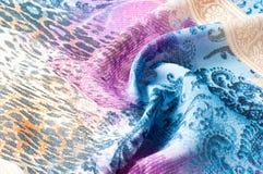 Textuurachtergrond, zijdestof, met abstract patroon Bl Royalty-vrije Stock Foto