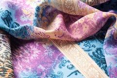 Textuurachtergrond, zijdestof, met abstract patroon Bl Royalty-vrije Stock Fotografie