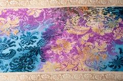 Textuurachtergrond, zijdestof, met abstract patroon Bl Stock Afbeelding