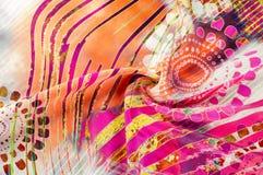 Textuurachtergrond, Zijdestof met abstract patroon col. Royalty-vrije Stock Foto's