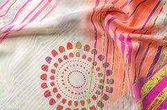 Textuurachtergrond, Zijdestof met abstract patroon col. Royalty-vrije Stock Afbeelding