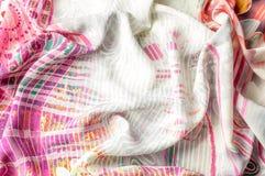 Textuurachtergrond, Zijdestof met abstract patroon col. Royalty-vrije Stock Foto
