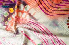 Textuurachtergrond, Zijdestof met abstract patroon col. Stock Fotografie