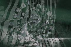 Textuurachtergrond, Zijdestof met abstract patroon flo Stock Foto