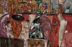 Textuurolieverfschilderij, het schilderen de bespreking van de reeks` Vrouwen ` s van auteursroman nogin ` Stock Fotografie