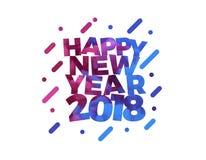 Textvektorillustrationsgruß-Kartendesign des guten Rutsch ins Neue Jahr 2018 buntes Stockbild