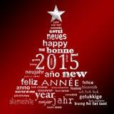 Textwortwolken-Grußkarte des neuen Jahres 2015 mehrsprachige Stockfotografie