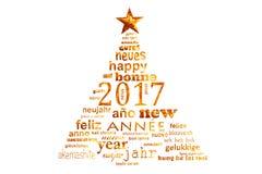 Textwortwolken-Grußkarte des neuen Jahres 2017 mehrsprachige, Form eines Weihnachtsbaums Lizenzfreie Stockbilder