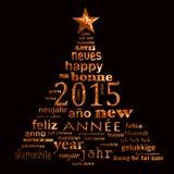 Textwortwolken-Grußkarte des neuen Jahres 2015 mehrsprachige in Form eines Weihnachtsbaums Stockfoto